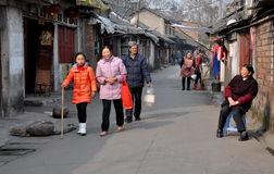 Pengzhou, China: Family Walking on Old Street Stock Images