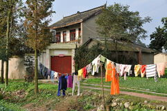 Pengzhou, China: Farm House with Laundry Stock Photos