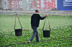 Pengzhou, China: Farmer Carrying Water Buckets Royalty Free Stock Photo