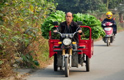 Pengzhou, China: Farmer Driving Motorcycle Cart along Country Road Stock Images
