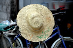 Pengzhou, China:  Farmer\'s Straw Hat Royalty Free Stock Photos