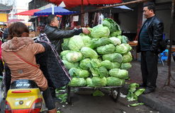 Pengzhou, China: Farmer Selling Cabbages Stock Photo