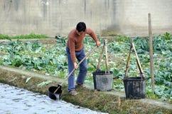 Pengzhou, China: Farmer Watering Seedlings Stock Image