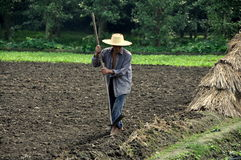 Pengzhou, China: Farmer Working His Field Royalty Free Stock Photos