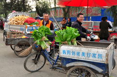 Pengzhou, China: Farmers At Co-op Market Stock Image