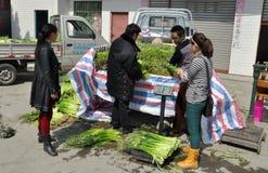 Pengzhou, China: Farmers at Co-op Market Royalty Free Stock Photos