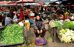 Pengzhou, China: Farmers and Food at Tian Fu Market Royalty Free Stock Photos