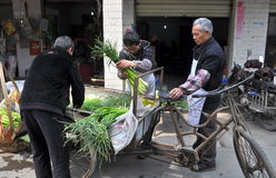 Pengzhou, China: Farmers with Garlic Stock Images