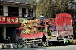 Pengzhou, China: Farmers Loading Bok Choy Royalty Free Stock Image