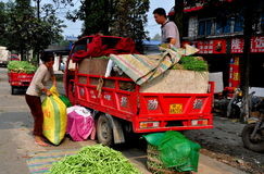 Pengzhou, China: Farmers Loading Green Beans Stock Image