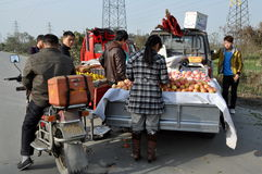 Pengzhou, China: Farmers Selling Fresh Fruit Royalty Free Stock Image