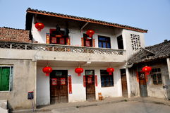 Pengzhou, China: Farmhouse with New Year Decorations Royalty Free Stock Image