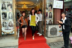 Pengzhou, China: Fashion Show Models Stock Photography