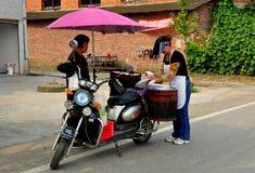 Pengzhou, China: Food Vendor on Motorbike Stock Photos
