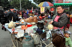 Pengzhou, China: Food Vendor in New Square Stock Image