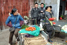 Pengzhou, China: Food Vendors at Marketplace Stock Photo