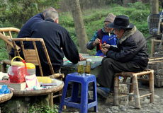 Pengzhou, China: Four Men Playing Cards Stock Photography