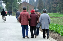 Pengzhou, China: Four Women on Country Road Royalty Free Stock Photography