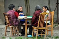 Pengzhou, China: Four Women Playing Mahjong Stock Photography