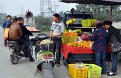 Pengzhou, China: Fruit Vendor Royalty Free Stock Image