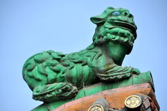 Pengzhou, China: Green Lion at Ci Ji Temple Royalty Free Stock Image