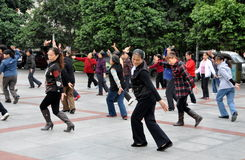 Pengzhou, China: Group of Women Dancing Royalty Free Stock Photography