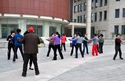 Pengzhou, China: Group of Women Dancing Royalty Free Stock Photos