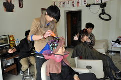 Pengzhou, China: Hair Stylists at Work Stock Photography