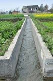Pengzhou, China: Het Kanaal van de irrigatie op Landbouwbedrijf Stock Foto's