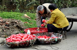 Pengzhou, China: Husband and Wife Washing Radishes Stock Image