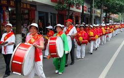 Pengzhou, China: Ladie's Waist Drum Band Stock Images