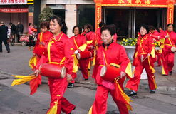 Pengzhou, China: Ladies' Waist Drum Band Stock Photography