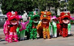 Pengzhou, China: Lion Dancers Royalty Free Stock Images