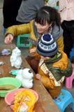 Pengzhou, China: Little Boy & Mother Painting Stock Photo