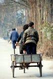 Pengzhou, China: Little Boy Standing in Cart Stock Photography