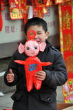 Pengzhou, China: Little Boy with Teletubby Royalty Free Stock Photos