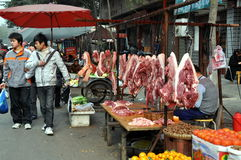 Pengzhou, China: Long Xing Market Butcher Shop Royalty Free Stock Image