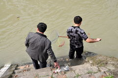 Pengzhou: China: Man Fishing in Ren Min River Stock Photo