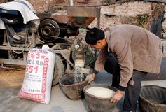 Pengzhou, China: Man Husking Rice Grains Stock Images