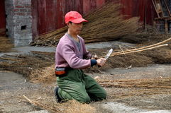 Pengzhou, China: Man Making Brooms Royalty Free Stock Image