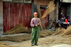 Pengzhou, China: Man Making Brooms Royalty Free Stock Images