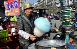 Pengzhou, China: Man Selling Cotton Candy Stock Photos