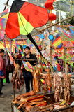 Pengzhou, China: Meats and Kites Display Royalty Free Stock Photos