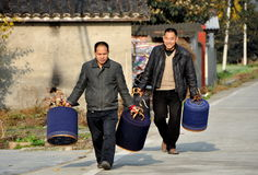 Pengzhou, China: Men Carrying Caged Birds Stock Photos
