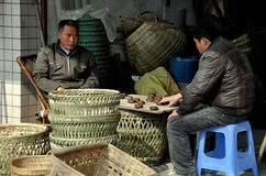 Pengzhou, China: Men Playing Checkers Stock Photo