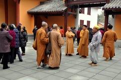 Pengzhou, China: Monks at Long Xing Monastery Stock Photos