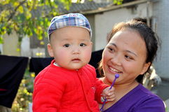 Pengzhou, China: Mother and Baby Stock Photography