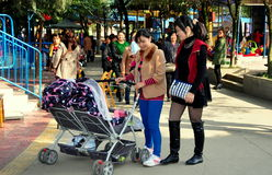 Pengzhou,China: Mother with Double Baby Stroller Stock Photos