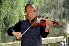 Pengzhou, China: Musician Playing Violin Royalty Free Stock Images