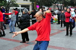 Pengzhou, China: Old Man Dancing Royalty Free Stock Image